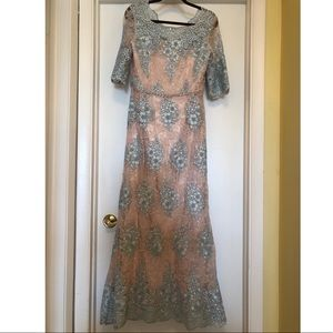 Tahari ASL Sequin Lace Applique Scalloped Gown
